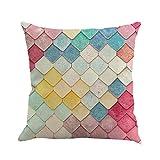 Winwintom Geometría pintura lino funda de Cojin almohada