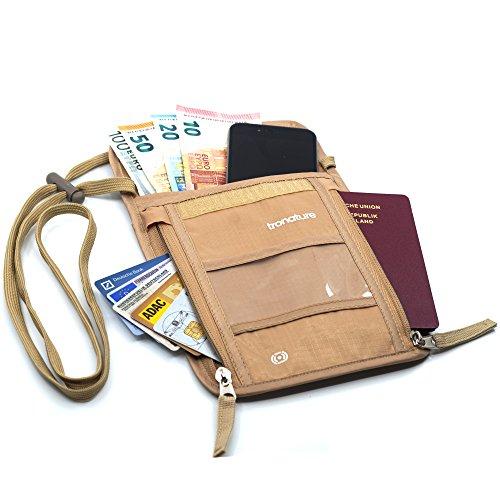 Tronature® Brusttasche mit RFID Schutz Beige - Herren & Damen Bauchtasche für Reisepass, Handy flach - Wasserabweisend und klein - Umhänge Travel Wallet versteckt - Reise Zubehör, Organizer Tasche -