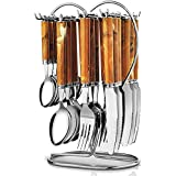 STAINLESS STEEL CUTLERY SET (WOODEN FINISH) - 24 PCS