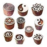Royal Kraft Tätowierung Drucken Stempel Exquisit Klein Runden Gestalten Holzblöcke (Set von 10)