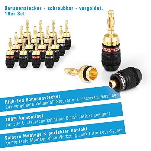 Sentivus 16x HIGH END Bananenstecker 24k vergoldet – für alle Lautsprecherkabel bis 6mm² – 16 Stück (8 Rot, 8 Schwarz) - 2