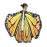 Ailes Papillon Adulte,Yannerr Enfant BéBé Fille Papillon Ailes ChâLe Foulards Nymphe Pixie Poncho Costume Accessoire (Taille: 136 * 108CM, Orange)