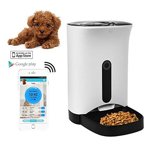 home-neat dispensador automático de comida para perros y gatos–caractéristiques alarmas de distribución, webcam y grabadora de voz–Temporizador Programable hasta 4almuerzo por día