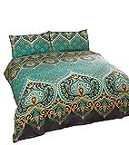 indischen henna-style grün blau Baumwolle-Mischgewebe Single Bettbezug