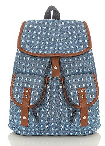 k | Handtasche in trendigen Farben | Tasche mit vielen Mustern - Schultasche R800 (blau 2350) ()