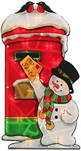 Pre-Lit 20 Bulb Santa Post-Box Double Sided Window Silhouette Christmas Decoration 45cm