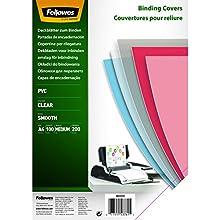 Fellowes Copertine per Rilegatrice in PVC trasparente, 200 mic, 100 Pezzi, A4