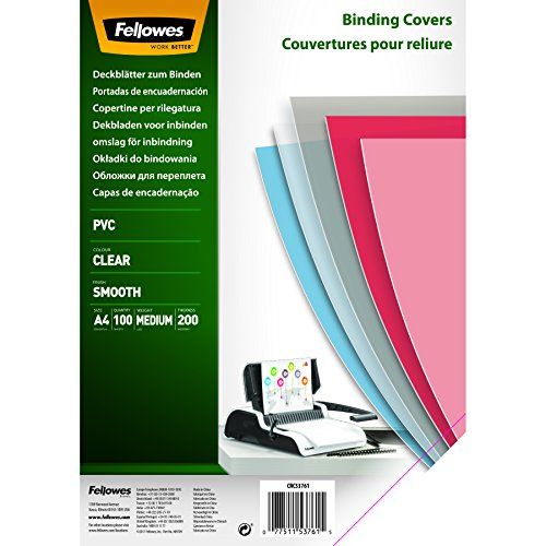 Fellowes 5376102 PVC Deckblätter, A4, 200 Mikron, transparent, 100er Pack