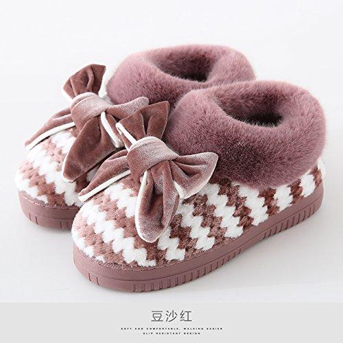 LaxBaMesdames Accueil Parole de chaussons moelleux agréable Chaussures Semelle dCotton-Padded La pâte de haricots