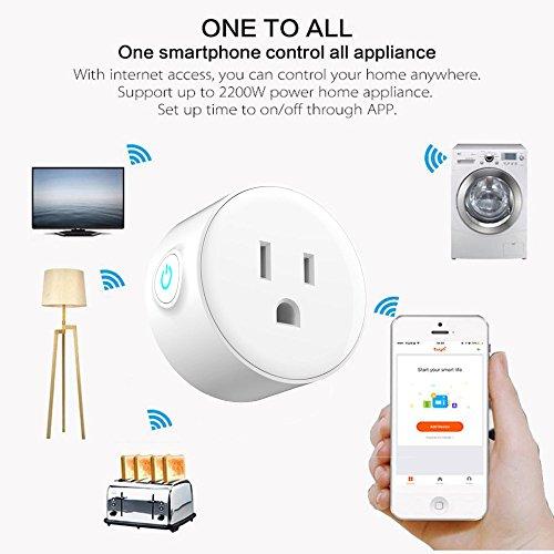 TianranRT Socket de alimentación inalámbrico inteligente 4Pcs Enchufes inteligentes Enchufes WiFi habilitados Enchufes de alimentación inteligente Controle su dispositivo eléctrico