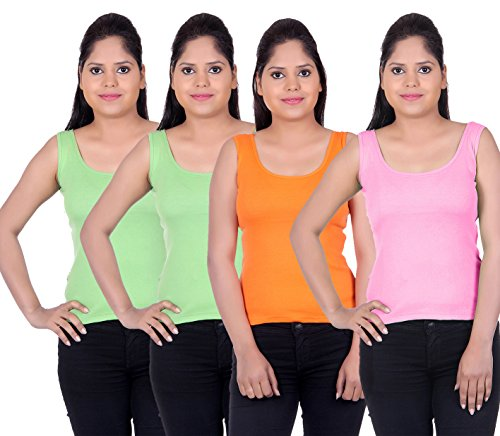LIENZ Women Camisole Tank Top Pink, Orange, Green and Grey Color - Pack of 4