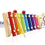Xylophon für Kinder Bunte 8 Töne Handklopfen Xylophon mit 2 Holzschlägeln musikalisches Spielzeug mit Kind