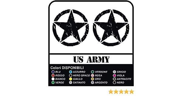 Adesivi STELLA MILITARE US ARMY effetto consumato per montante posteriore stella militare us army effetto invecchiato NERO OPACO