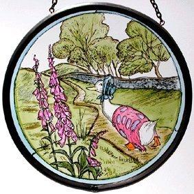 Dekorativer Fensterschmuck/Sonnenfänger, handbemalt, Buntglas, Motiv: Kokarde in Sonnenfänger Beatrix Potter's Jemima Puddleduck