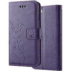 LAPOPNUT for Samsung Galaxy S6 Hülle Magnetisch PU Leder Tasche Flip Brieftasche Schutzhülle Schmetterling Blume Muster Stand Kartenschlitz Case Cover für Samsung Galaxy S6 - Violett