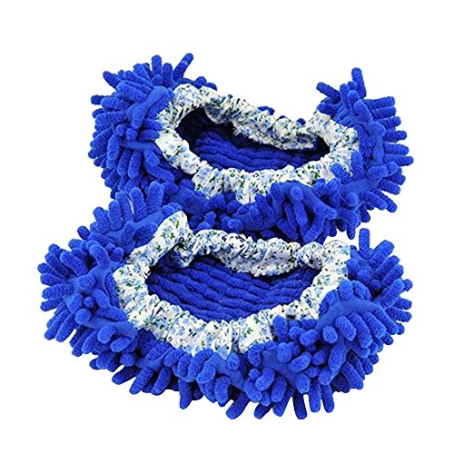 Aohro Multi-Function lavabile Dust Mop Pantofole in ciniglia fibra per pavimenti bagno, ufficio e cucina, Blu scuro