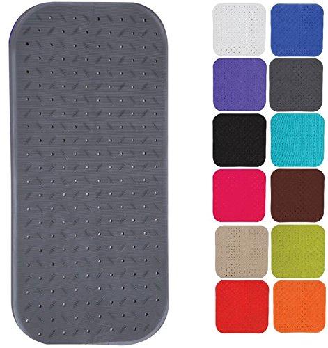 MSV Premium Duschmatte Badematte Badewannenmatte Badewanneneinlage antibakteriell rutschfest mit Saugnäpfen - Grau - duftet nach Rosen - ca. 36 x 97 cm - waschbar bei 60° Grad