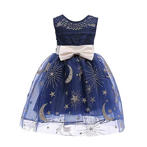 Baby Mädchen Prinzessin Kleid, Geburtstagsfeier Brautjungfer Pageant Kleid Hochzeit Floral Ärmellos Bögen Glitter Moon Stars Openwork Netze Tutu Rock(Z-Dunkelblau,110) (Jungs Rock Star Kostüm)