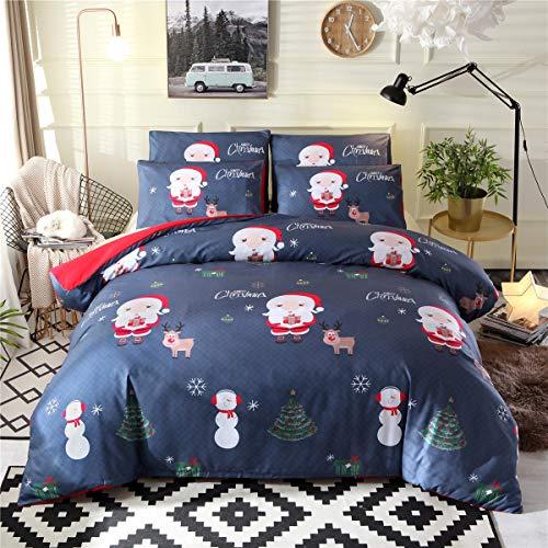 Xmh shop trapunta di natale blu, trapunta di renne di babbo natale con pupazzo di neve e biancheria da letto in tre pezzi (size : 200×230)
