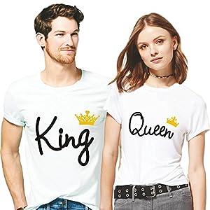 Hangout Hub Couple Men's & Women's Cotton Printed Regular Fit T-Shirts (Pack of 2) – King Queen