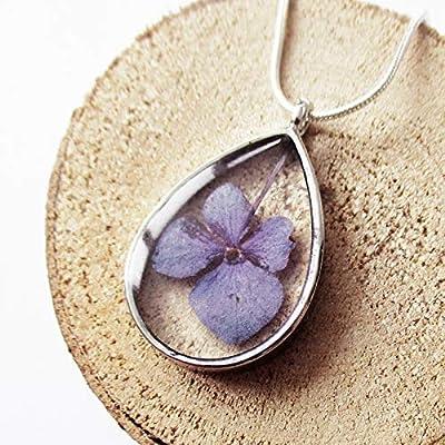 Pendentif Céleste en résine et fleurs - Bijou nature argent sterling 925 Collier en fleurs séchées colorées