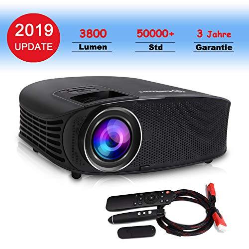 Beamer, DHAWS 3800LM 1080P Full HD HDMI Video Projektor für Heimkino und Geschäft PowerPoint Präsentation , mit PPT Clicker (Black)