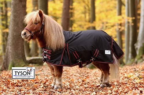 Tysons Breeches  Regendecke High Neck Minishetty Mini Shetty Falabella 600 D Schwarz Rot 60 70 80 90 100 cm (100 cm)