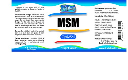Kala Health – OptiMSM® (Methylsulfonylmethane) MSM Powder Coarse Flakes (Crystals) 1000g, pure MSM Supplement, produced in the United States of America.