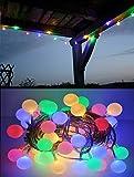 LED Lichterkette Bunt oder Warmweiß Partylichterkette LEDs stabile Kugeln IP44, Farbe:Bunt;Länge:12 m