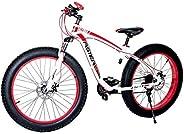 Aster Aluminum 24Speed Fat Bike - White Red 26 Inch