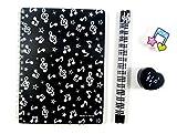 Musique thème Papeterie - noir Notes de musique cahier, crayons HB, gomme et jeu de crayon