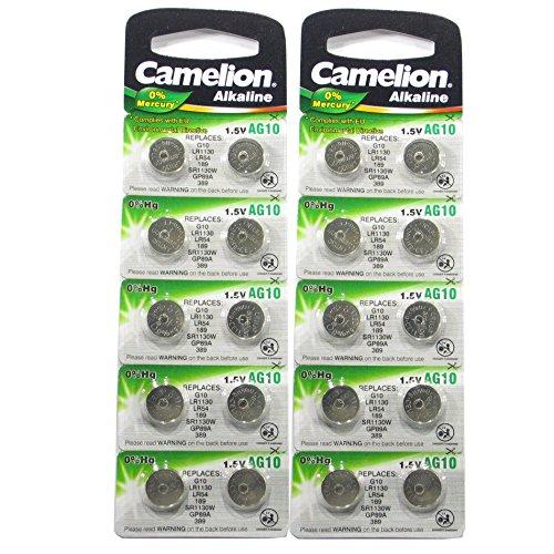 20 CAMELION AG10 / 189 / 389 / LR1130 pile bouton longue durée de conservation 0% de mercure (Date d'expiration marqué)