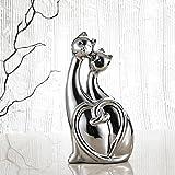 Verliebte Katze Skulptur aus Porzellan, Purelifestyle, Galvanisch Tier Figur, Liebespaar Deko, Tischdeko, Raumdeko, Höhe 28,5 cm, Weihnachtsgeschenk