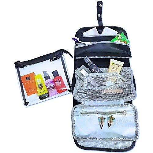 Zipper Große Tasche Kosmetik (Kulturtasche zum Aufhängen (schwarz) + Kosmetiktasche transparent (1L) - extra groß - Toilettentasche - Waschtasche – 2x abnehmbare Organizer)