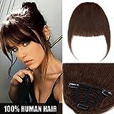 Frange a Clip Cheveux Naturel Extension en 100% Cheveux Humains Postiche Vrai Cheveux Lisse Remy Hair Bang Fringe - #4 CHATAIN
