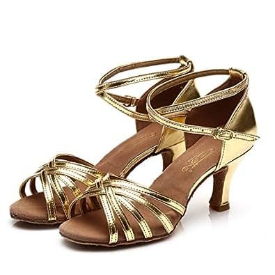 e09fec5a8e WXMDDN Donna di Ballo Latino Oro Scarpe Scarpe da Ballo 5cm Scarpe ...