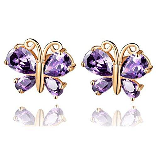 Jewelleryclub farfalla orecchini in oro rosa placcato viola ametista cristallo swarovski elements orecchini per le donne