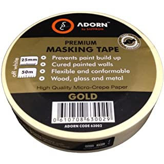 Adorn 63002 Gold Multi-Surface Premium Masking Tape up to 7 Days Residue Free Removal 25mm x 50m