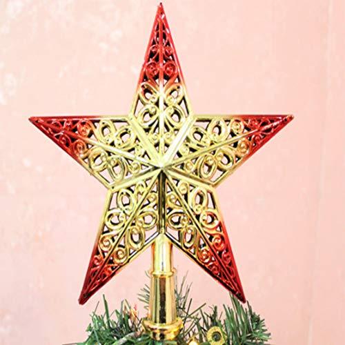 Merry Angel 5 STÜCKE Weihnachtsbaum Hohl fünfzackigen Stern Baum Topper Hut Weihnachten Kunststoff Ornament (Goldenes Rot) (Topper Hut Baum)