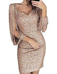Moonuy Robe Femme Couleur Unie Robe de Soirée Manches Longues à Franges Robe  Cocktail Col Rond Robe Moulante à Paillettes Sexy… f08b69125a93