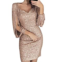 Idea Regalo - Gonna Ningsun Elegante Vestito Dorato Lustrini Cerimonia Vestiti da Cerimonia Corti Le Donne Sexy Moda Maniche lunghe Paillettes Zaino Abito da Sera Party Dress Backless Oro (05Cachi,S)