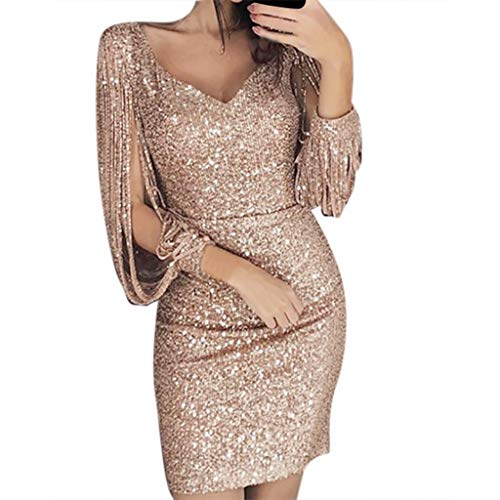LILICAT Femme Robe Paillettes Femme Couleur Unie Robe de Soirée Manches Longues à Franges Robe Cocktail Col Rond Robe Moulante Sexy Slim Shining Club Chic Robe Col V Vintage Dress