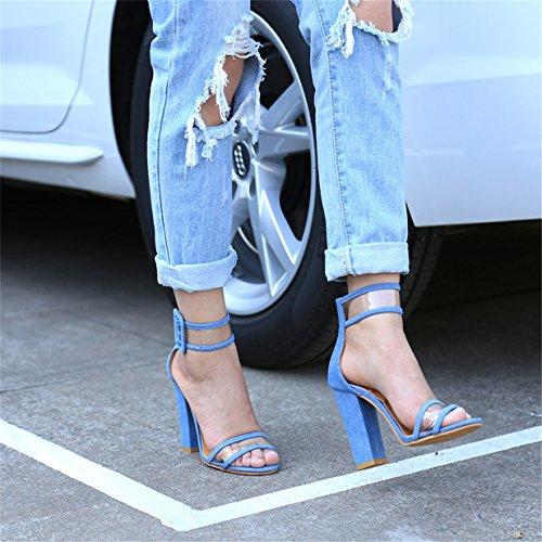 Lalang Femme À Talons Hauts Chaussures Sandales à Talons Ouverts à Sangle à Cheville Bleu