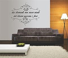 Idea Regalo - Adesivo murale poesia canzone- wall sticker - Dai diamanti non nasce niente dal letame nascono i fiori - dimensioni 33x40 cm
