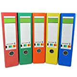 versando Farbset mit 5 verschiedenen Rückenfarben Ringordner grüner Balken A4 80mm wolkenmarmor mit Blauer Engel, Made in EU