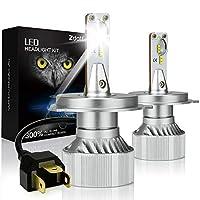 ZDATT H4 9003 Hb2 مصابيح LED الأمامية Hi Lo Beams 100W 12000LM 6000K مجموعات تحويل الضوء لشرائح ZES أبيض ساطع