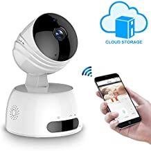 Wireless IP Kamera, LESHP HD Überwachungskamera mit WiFi, 355°/100° Schwenkbar, Zwei-Wege-Audio, Nachtsicht, unterstützt Fernalarm und Mobile App Kontrolle für Smartphone/PC