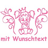 Hoffis Premium Babyaufkleber mit Name/Wunschtext Baby Kinder Autoaufkleber - Motiv 1286 (16 cm) - Farbe und Schriftart wählbar