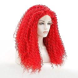 QLSGO Rote Cosplay Perücken Afro Kinky Curly Lace Front volle Perücke,Neu Perücke stilvoll schick Haar Wigs für Karneval Cosplay Halloween 16 Zoll