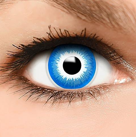 FUNZERA® Lentilles de Contact de Couleur Bleu-Blanc